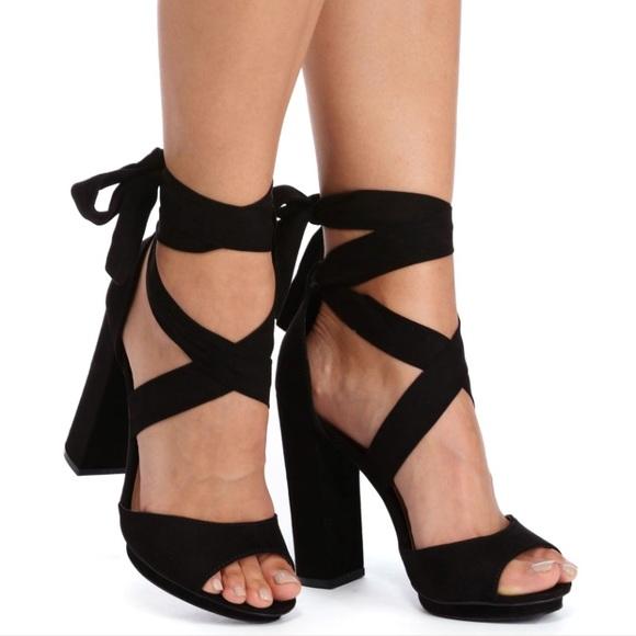 b4a3269ded10 Black suede wrap around heels